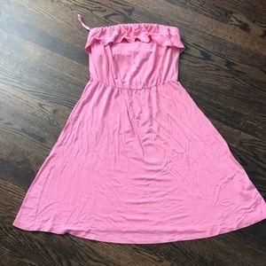 Cotton pink strapless sun dress
